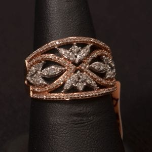 Lady's 10k rose + white gold diamond band engagement ring available at John Wallick Jewelers in Sun City, Arizona near Phoenix, AZ