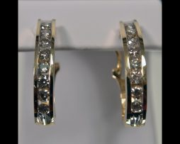 14K Yellow Gold Pierced Hoop Diamond Earrings available at John Wallick Jewelers in Sun City, Arizona near Phoenix, AZ