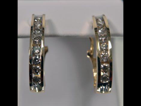 14K Yellow Gold Pierced Hoop Diamond Earrings available at John Wallick Jewelers in Sun City, Arizona near Phoenix, AZ