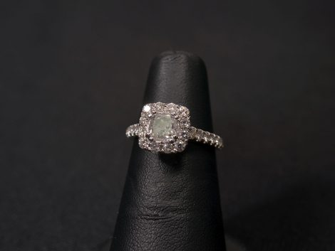 Lady's 14kt white gold, cushion out diamond wedding ring available at John Wallick Jewelers in Sun City, Arizona near Phoenix, AZ