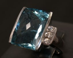 14kt White Gold, Blue Topaz and Diamond Ring at John Wallick Jewelers in Sun City, Arizona near Phoenix, AZ
