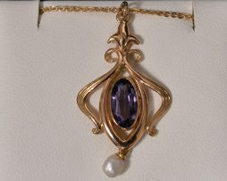 Lady's 14K Yellow Gold, Pearl and Oval Amethyst Pendant Necklace available at John Wallick Jewelers in Sun City, Arizona near Phoenix, AZ