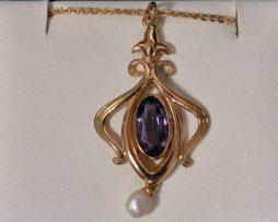 Lady's 14K Yellow Gold, Pearl and Oval Amethyst Pendant Necklace available at John Wallick Jewelers in Sun City, Arizona near Phoenix, AZ