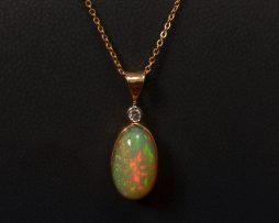 14K Yellow Gold Opal and Diamond Pendant Necklace