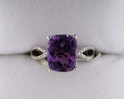 14k White Gold Checkboard Top Amethyst Ring at John Wallick Jewelers in Sun City, Arizona near Phoenix, AZ