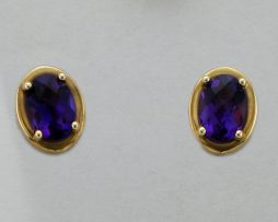 14k Yellow Gold Amethyst Earrings at John Wallick Jewelers in Sun City, Arizona near Phoenix, AZ