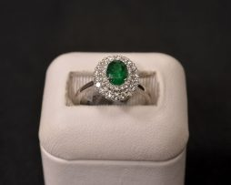 White Gold, Emerald and Diamond Ring available at John Wallick Jewelers in Sun City, Arizona near Phoenix, AZ