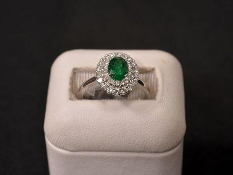 White Gold, Emerald and Diamond Ring available at John Wallick Jewelers in Sun City, Arizona near Phoenix, AZ