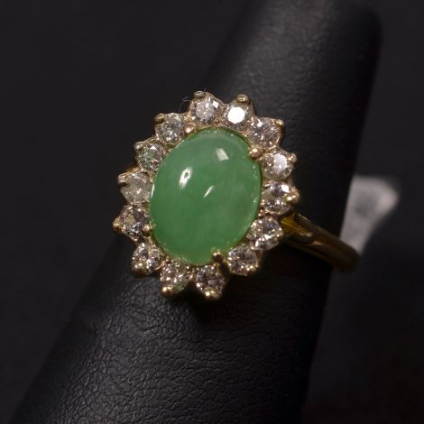 Yellow Gold, Jade and Diamond Ring available at John Wallick Jewelers in Sun City, Arizona near Phoenix, AZ
