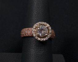 Rose and White Gold, Diamond Wedding Ring with Pink Side Diamonds available at John Wallick Jewelers in Sun City, Arizona near Phoenix, AZ