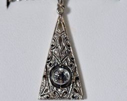 14K White Gold Diamond Filigree Pendant Necklace available at John Wallick Jewelers in Sun City, Arizona near Phoenix, AZ