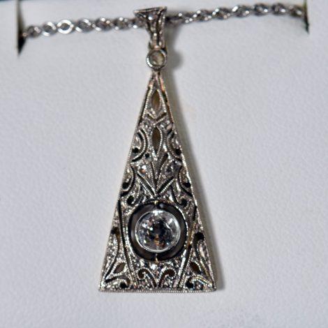 14K White Gold Diamond Filigree Pendant Necklace available at John Wallick Jewelers in Sun City, Arizona near Phoenix, AZ