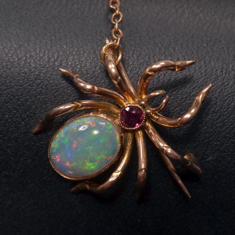 Vintage Opal and Garnet Spider Pin at John Wallick Jewelers in Sun City, Arizona near Phoenix, AZ