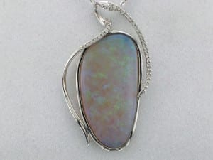 Austrialian opal and diamond pendant available at John Wallick Jewelers, in Sun City, Arizona, near Phoenix, AZ