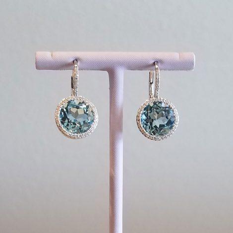 Blue Topaz and Diamonds, White Gold Earrings available at John Wallick Jewelers in Sun City, AZ near Glendale, Arizona