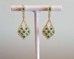 Emeralds and Diamonds in Yellow Gold Earrings available at John Wallick Jewelers in Sun City, AZ near Glendale, Arizona