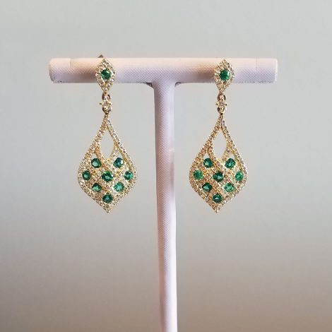 Emeralds and Diamonds in Yellow Gold Earrings available at John Wallick Jewelers in Sun City, AZ near Glendale, Arizona