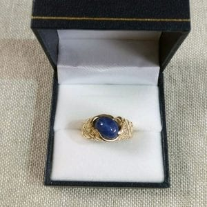 Gent's Yellow Gold Ring with Synthetic Blue Star-Sapphire