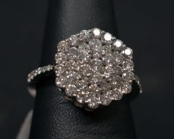 White Gold, Diamond Cluster Ring available at John Wallick Jewelers in Sun City, Arizona near Phoenix, AZ