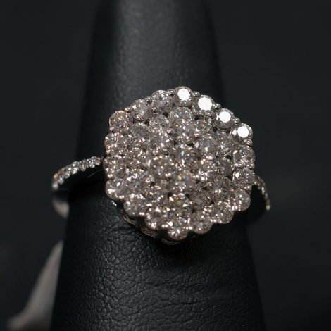 White Gold, Diamond Cluster Ring available at John Wallick Jewelers in Sun City, Arizona near Phoenix, AZ