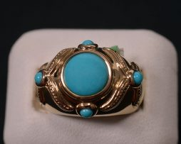 Lady's 14K yellow gold turquoise ring available at John Wallick Jewelers in Sun City, Arizona near Phoenix, AZ