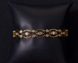 Lady's 14K Yellow Gold Diamond Bezel Set Bracelet available at John Wallick Jewelers in Sun City, Arizona near Phoenix, AZ