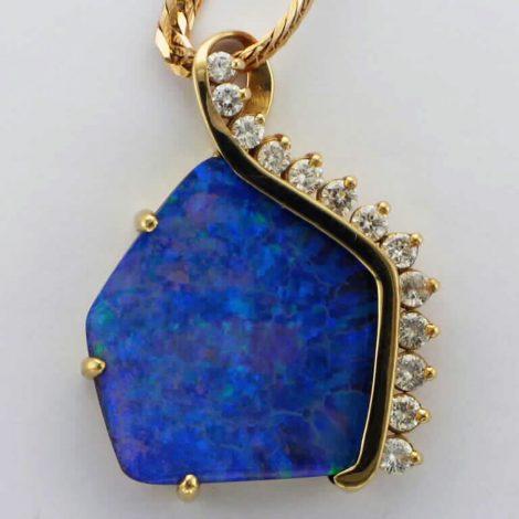 Yellow Gold, Blue Opal and Diamond Pendant Necklace available at John Wallick Jewelers in Sun City, Arizona near Phoenix, AZ