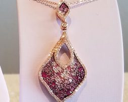 Pink Sapphire and Diamond Pendant Necklace available at John Wallick Jewelers in Sun City, AZ near Glendale, Arizona