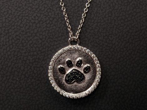 Sterling Silver CZ Black Paw Pendant Chain Necklace available at John Wallick Jewelers in Sun City, Arizona near Phoenix, AZ