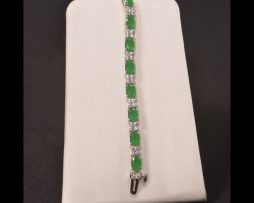 Oval Emerald Silver Bracelet available at John Wallick Jewelers in Sun City, Arizona near Phoenix, AZ