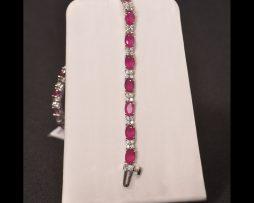 Oval Ruby Silver Bracelet available at John Wallick Jewelers in Sun City, Arizona near Phoenix, AZ