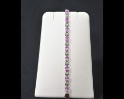 14K Gold Pink Sapphire Diamond Bracelet available at John Wallick Jewelers in Sun City, Arizona near Phoenix, AZ
