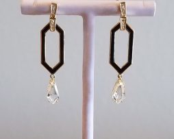 White Topaz on Black Enamel, Yellow Gold Earrings available at John Wallick Jewelers in Sun City, AZ near Glendale, Arizona