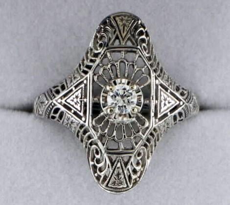 John Wallick Jewelers: White Gold Diamond Estate Ring