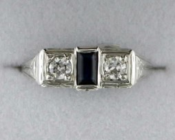 John Wallick Jewelers: White Gold Sapphire and Diamond Antique Estate Ring
