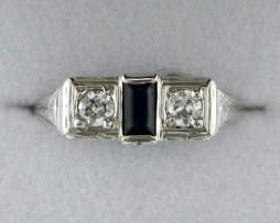 John Wallick Jewelers: White Gold Sapphire and Diamond Antique Estate Ring