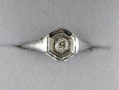 John Wallick Jewelers: White Gold Filigree Estate Ring with Round European Cut Diamond