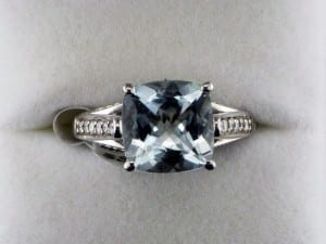 Aqua Checkboard Cut Ring at John Wallick Jewelers, in Sun City, Arizona, near Phoenix, AZ