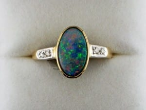 Boulder opal ring available at John Wallick Jewelers, in Sun City, Arizona, near Phoenix, AZ