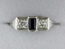 White Gold Sapphire and Diamond Estate Ring