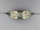White Gold Filigree Diamond Estate Ring