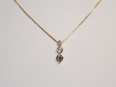 Yellow Gold Three Diamond Pendant Necklace
