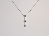 White Gold Three Diamond Pendant Necklace