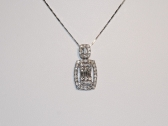 Baguette and Rounds Diamond Pendant Necklace
