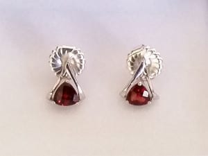 Garnet Earrings available at John Wallick Jewelers, in Sun City, Arizona, near Phoenix, AZ