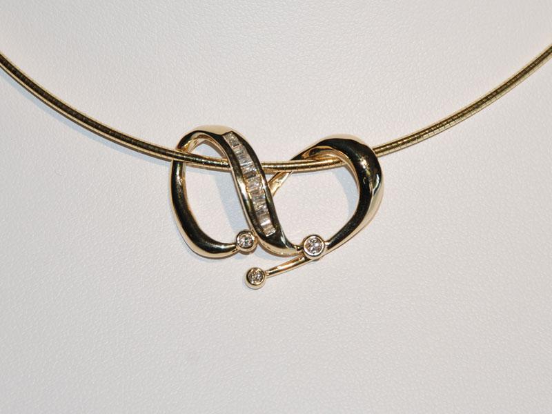 Yellow gold diamond pendant omega chain necklace sun city jewelry john wallick jewelers yellow gold diamond pendant and omega chain necklace mozeypictures Choice Image