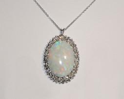 John Wallick Jewelers: White Gold Opal and Diamond Pendant Necklace
