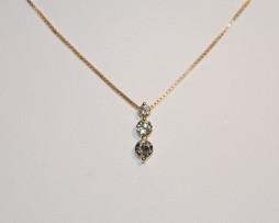 John Wallick Jewelers: Yellow Gold Three Diamond Pendant Necklace