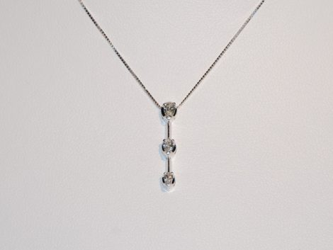 John Wallick Jewelers: White Gold Three Diamond Pendant Necklace