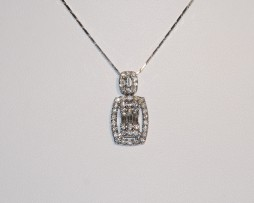 John Wallick Jewelers: Baguette and Rounds Diamond Pendant Necklace